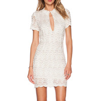 White Lace Fish Scale Pattern Cutout Short Sleeve Bodycon Mini Dress