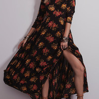 Black Floral Print Half Sleeve Slit Maxi Dress