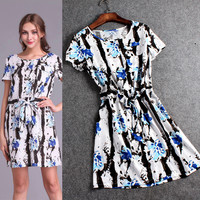 Floral Short Sleeve Printed Bow Swing Mini Dress