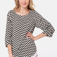 Fits and Squiggles Black and White Striped Top