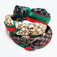 GG women's red and green stripes double G headband