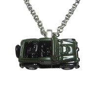 Green Toned Jeep Car Pendant Necklace