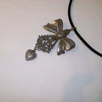 Vintage Pin/Pendant, Necklace, Convertible Pin, Choker Necklace, Antiqued Silver Bow with Heart Charm Velvet Necklace