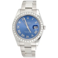 Mens 41mm Rolex DateJust II 116334 Diamond Watch Azure Blue Roman Dial 2.75 CT.