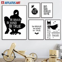 Cartoon Batman Spiderman Wall Art Canvas Painting Posters And Prints Nordic Poster Black White Wall Pictures For Kids Room Decor