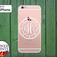 Cursive Monogram Letters Initials Circle Custom Gift Clear Rubber Phone Case for iPhone 5/5s and 5c and iPhone 6 and 6 Plus + and iPhone 6s