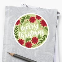 'Merry Christmas Circle' Sticker by JordynAlison