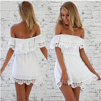 Women's Fashion Summer Lace Strapless One Piece Dress [2070458957878]