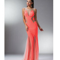2014 Prom Dresses - Neon Pink Paneled Mesh Fitted Long Dress