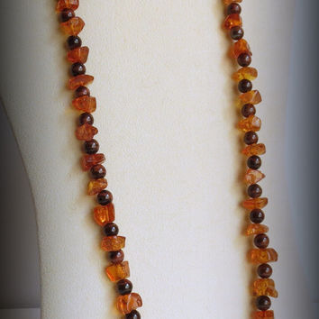 Amber Necklace with Red Tiger Eye Stones, Sterling Silver Clasp, Statteam