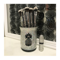 Makeup Brush Holder- SMALL- PINEAPPLE- Chunky Unicorn Juice Glitter