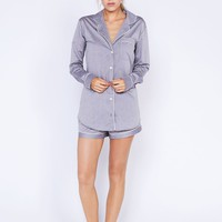 Desmond Short Grey Luxury Cotton Womens Pyjama Set