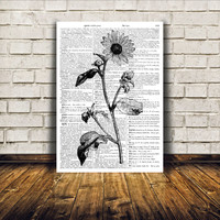 Sunflower poster Black and white Rustic decor Dictionary print TO156