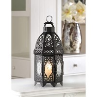 Black Lattice Moroccan Marketplace Style Metal And Glass Candle Lantern