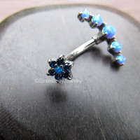 """Blue opal belly button ring 14g navel piercing body jewelry silver 316L stainless steel 7/16"""" curved barbell gemstone flower end prong set"""