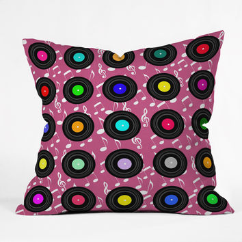 Lisa Argyropoulos Old School Music Pink Outdoor Throw Pillow