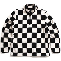 Checkered Mock Neck Pullover Jacket Black