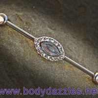 White Rhinestone Industrial Barbell 14ga Surgical Steel Scaffold Bar Body Jewelry