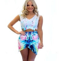 Chic Floral Print Cut Out Half Top Skirt Bandage Dress