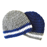 Crochet Beanies for Twin Boys - Crochet Baby Hats - Twin Photo Shoot Prop - Gray and Navy Baby Beanies - Baby Shower Gift for Twin Boys