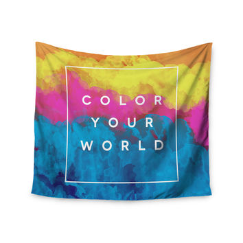 "Galaxy Eyes ""Color Your World"" Rainbow Paint Wall Tapestry"
