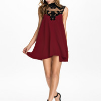 Sleeveless Funnel Collar Mesh Embroidered Mini A-Line Dress
