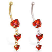 14K Gold belly ring with triple heart ruby CZ dangle