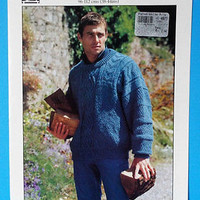 Tivoli Knitting Pattern Aran Cable Knit Pullover Sweater Mens 38-44 No 2532