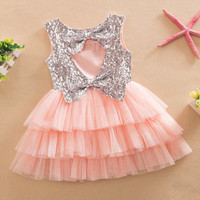 Infant Baby Girls Sequined Bow Dress Kids Wedding Party Dresses Children Clothing vestido de festa infantil menina