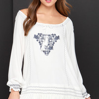 Fest Day Ever Grey and Ivory Embroidered Dress