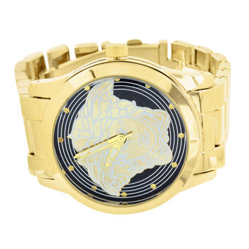 Gold Finish Watch Medusa Face Design Metal Band Limited Edition