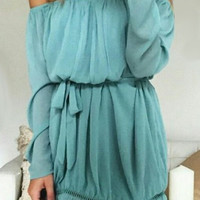 Light Blue Slash Neck Pleated Dress