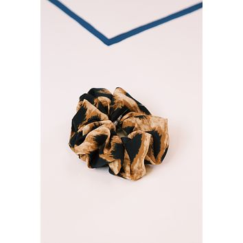 Leopard Scrunchie, Mocha/Black