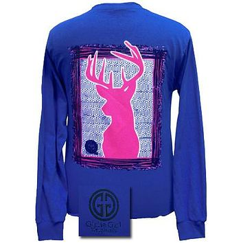 SALE Girlie Girl Originals Collection Preppy Deer Country Blue Bright Long Sleeves T Shirt