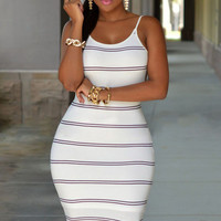 White Black Striped Strappy Backless Mini Bodycon Dress