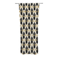 "Nika Martinez ""Glitter Triangles in Gold & Black"" Geometric Decorative Sheer Curtain"