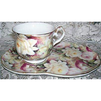 Lush Roses Chintz 4 Piece Porcelain Tea or Coffee Snack Set Satin Lined Gift Box
