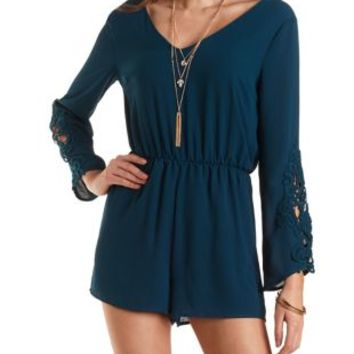 Chiffon Romper with Crocheted Sleeves by Charlotte Russe