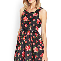 FOREVER 21 Dainty A-Line Dress w/ Belt Black/Red