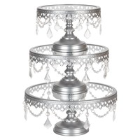 3-Piece Glass Top Crystal Cake Stand Set (Silver)