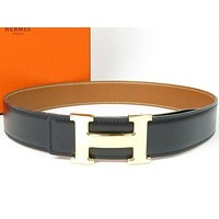 Authentic HERMES H Logo Belt Gold-tone Black Excellent condition r1502