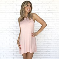 Relax In The Sun Jersey Tee Dress In Pink