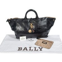 Bally Women's Dark Brown Leather Travel Hand Bag