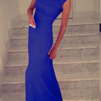 Royal Blue Elegant Maxi Dress