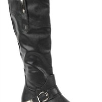 Tall Flat Riding Boot with Buckled Strap with Gold Detail