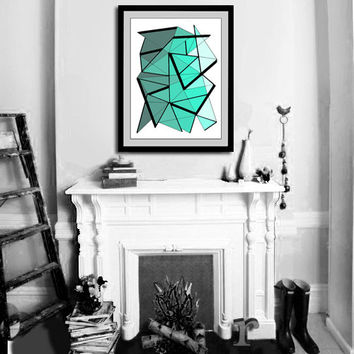 "Art print from original drawing. 18x24"" Large print of aqua green drawing - Abstract modern wall art by Jo Diquez. Green print."