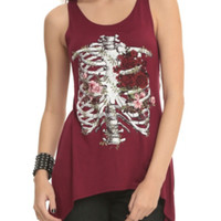 Burgundy Rib Cage Shark Bite Tank Top