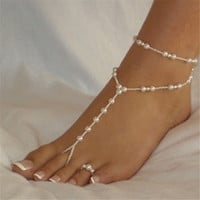 Anklets For Women Beach Ankle Bracelet Imitation Pearl Barefoot Sandal Foot Chain Jewelry Anklet Chain IMY66