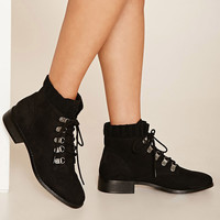 Faux Suede Lace-Up Boots