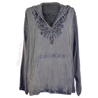 Flower Embroidered Stonewash Hoodie on Sale for $36.95 at HippieShop.com